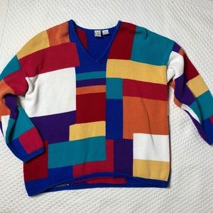 Vintage V-Neck Color Block Sweater Size M